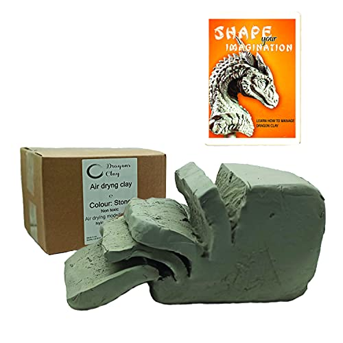 Dragons Clay Reinforced Air Drying Modelling Clay (Stone) 3kg with 14 scuplting Tools