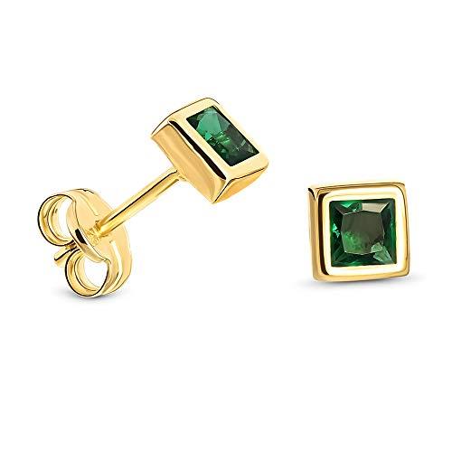Miore Ohrring Damen Viereckige Ohrstecker mit Edelstein/Geburtsstein Smaragd in grün aus Gelbgold 9 Karat / 375 Gold, Ohrschmuck