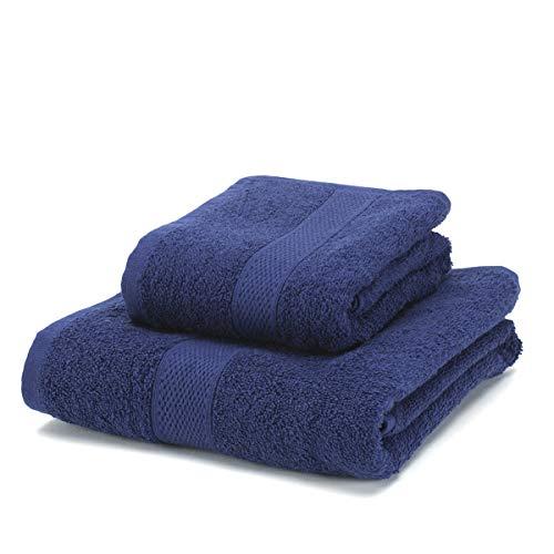 BONCASA - Juego de Toallas - 100% Algodón Peinado (no regenerado) - Calidad Ring Spun - Tacto Suave - 450 gr/m2 (Azul Marino, Set 2 Piezas)