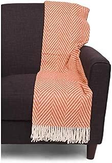 Nido Notte Italia Luxury Fringed Decorative Oversized Throw Blanket Toss Geometric Chevron Herringbone Zig Zag Pattern in Shades of Dark Orange and White Fringed Edge