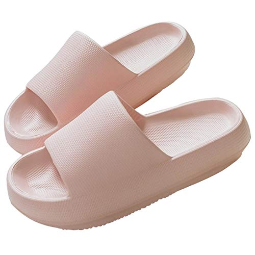 Athlefit Pillow Slides Shower Shoes Slippers Quick Drying Bathroom Sandals Soft Cushioned Extra Thick Massage Pool Gym House Slipper for Women Men Pink