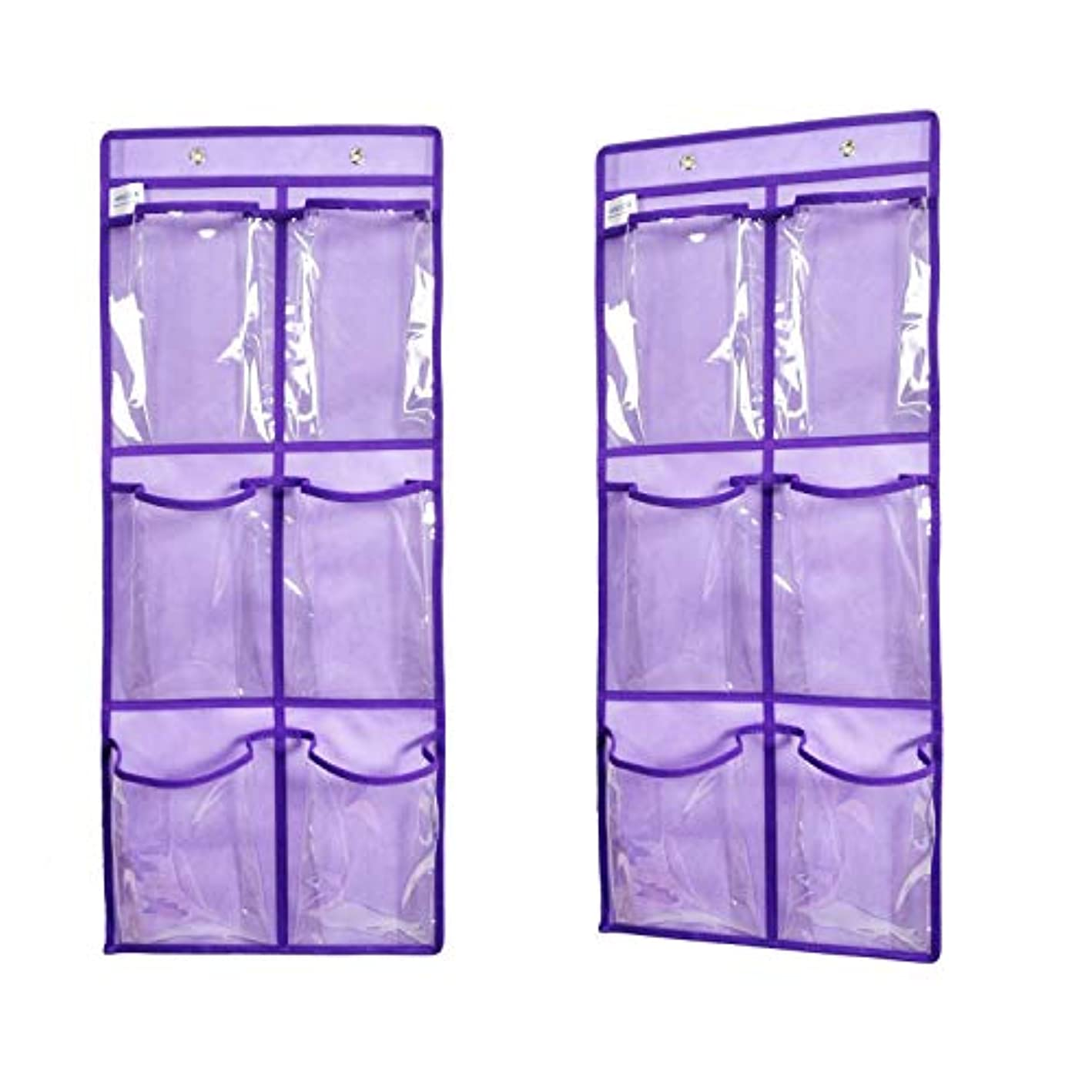 ANIZER Over The Door Hanging Shoe Organizer Narrow Closet Door Shoe Storage 6 Large Clear Pockets Chart 2 Pack (Purple)