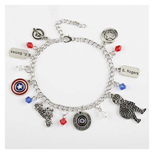 MGMDIAN Avengers da Donna Captain America Braccialetto Capitan America Scudo Scudo Locomotiva Braccialetto in Lega Braccialetto