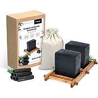 2 pastillas de jabón de carbón de bambú hecho a mano, jabón facial, para todo tipo de pieles, bueno para el eccema del acné Ariel-gxr
