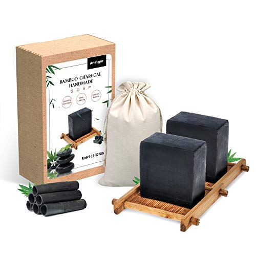 Bambuskohle Handgemachtes Seife, Ariel-gxr 2 Stück Natural Bambuskohle Seife, Gesicht Seife, Reinige Gesicht und Körper für alle Hauttypen, gut gegen Akne Ekzem
