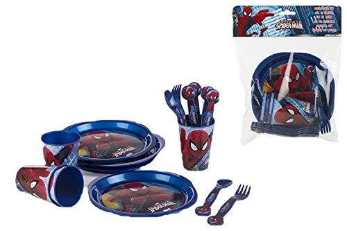 COLORBABY 48037, Spiderman Party- und Geburtstagspaket, bestehend aus 4 Gläsern, 4 Tellern, 4 Löffeln und 4 Gabeln, alle aus wiederverwendbarem Kunststoff; BPA frei