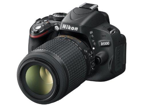 Nikon D5100 SLR-Digitalkamera (16 Megapixel, 7.5 cm (3 Zoll) schwenk- und drehbarer Monitor, Live-View, Full-HD-Videofunktion) Kit inkl. AF-S DX 18-55 mm VR (bildstab.) + 55-200 mm VR (bildstb.)