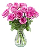 Dozen Pink Roses with a Free Vase by Arabella Bouquets