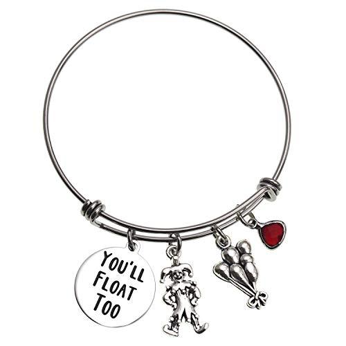 LParkin You'll Float Too Bracelet IT Movie Horror Fan Gift for Her Bangles Halloween Bracelets …