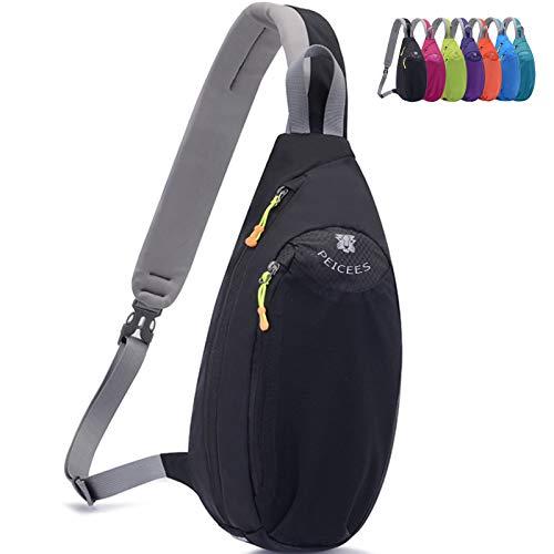 Peicees Sling Bag for Women Men Kids Teens, Lightweight Waterproof Nylon Sling Backpack, Crossbody Chest Bag Shoulder Sling Bag for Hiking Sports Outdoors Daily Travel(Black)