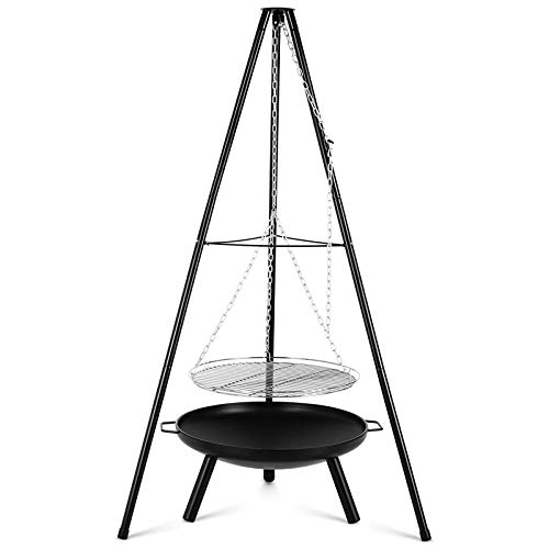Fire Pit Charcoal Barbecues with Height-Adjustable Swivel Hanging Grill, Portable Cooking Tripod Grilling Steel Fire Bowl for BBQ Camping Picnic
