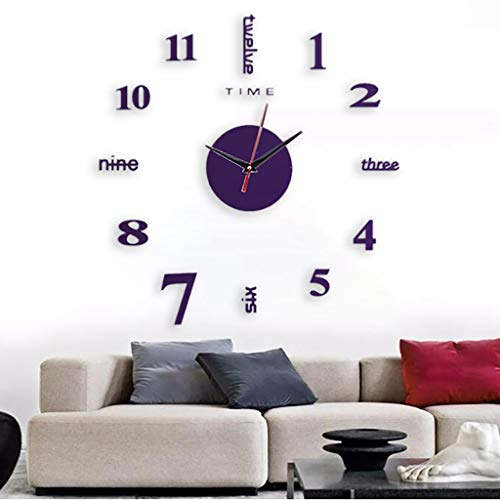 riou DIY Wanduhr, DIY 3D Wanduhren Modern Design Wall Acrylic Clock Dekoration Uhren für Büro Wohnzimmer Schlafzimmer Uhr Geschenk Home Deko (Lila, 50x50cm)