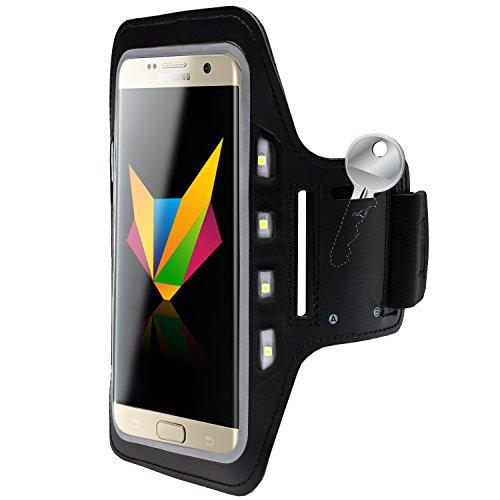 MOBILEFOX Handy LED-Licht Sport Armband Tasche Halter Hülle kompatibel mit Samsung Galaxy S7 Edge Schwarz