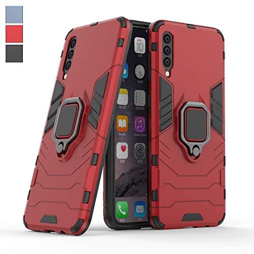 COOVY® Funda para Samsung Galaxy A50 SM-A505F/DS/SM-A505FN/DS de plástico y Silicona TPU, extrafuerte, Anti Choque, Funda con función Atril + Soporte magnético | Color Rojo