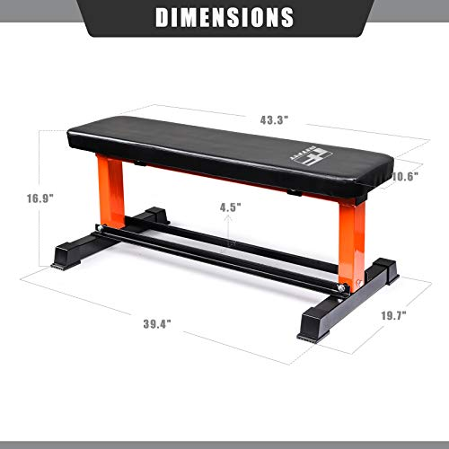 RitFit Utility Flat Weight Bench with Dumbbell Rack, 880 LB Capacity Workout Bench for Home Gym - Weightlifting, Strength Training, Full Body Exercise