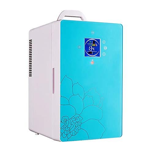 PULLEY Refrigerador portátil, cable de alimentación de CA y CC, función de visualización digital, adecuado para el coche en casa y camping mini refrigerador de coche (color: azul)