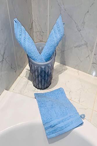 CORR Gant de toilette Bleu ciel (LOT de 3) 20x14 cm - 100% coton