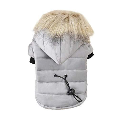 PONNMQ XS-XL Warm Kleine Hunde-Bekleidung Winter-Hundemantel Jacke Welpen-Outfits für Chihuahua-Hund Winter-Kleidung Haustier Kleidung, grau, M