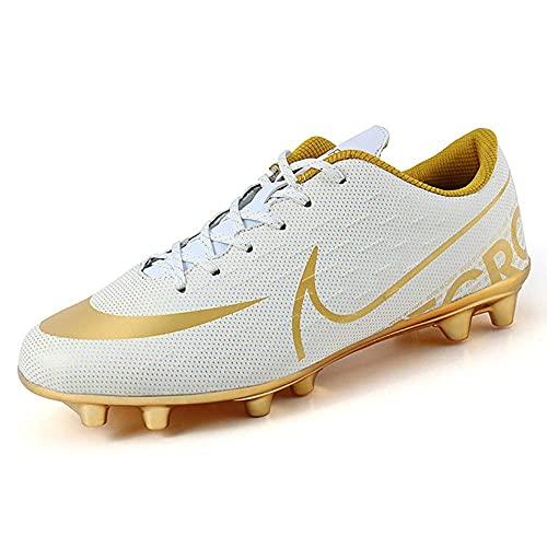 GFKD Zapatillas de fútbol para hombre, transpirables, para niños, niñas, zapatos de fútbol profesionales, unisex, color blanco, 2,5