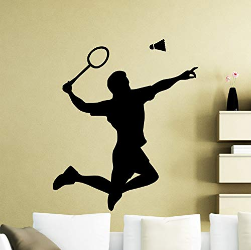 63x57 cm Heißer Verkauf Badminton Player Wandtattoo Wohnzimmer Kunstwand Federball Schläger Muster Springen Wandaufkleber Sport
