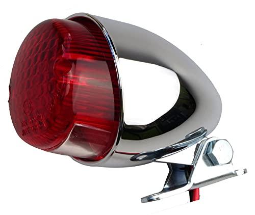 IGUANA CUSTOM - Piloto trasero de moto HAWK ECO cromado con luz de freno, luz de posición y luz de matrícula - Homologado E-MARK- Perfecto para bobber o cafe racer.