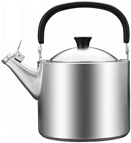 Bouilloire induction Théière durable 3.5L Grande Taille Épaissie En Acier Inoxydable Sifflant Cuisinière à induction de gaz Restaurants à la maison Office Silver WHLONG