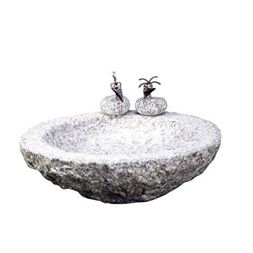 Gebrüder Lomprich Vogelbad aus Granit in Schalenform (mit 2 Vögele am Rand sitzend)