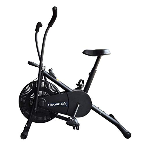 Healthex 1213 Stainless Steel Air Bike with Moving Handle & Adjustable Cushioned Seat, Black/Grey