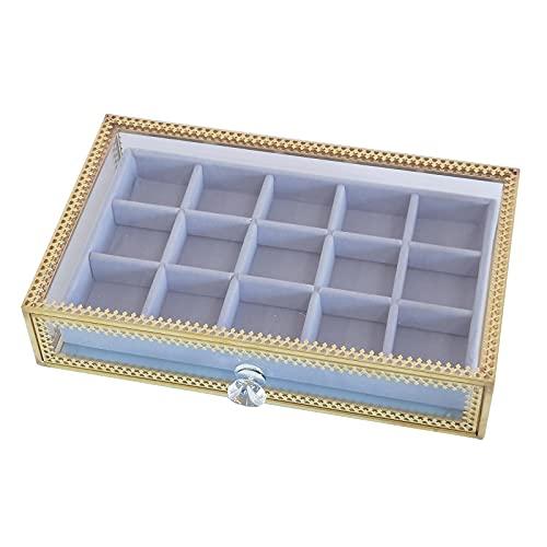 Milkvetch Caja de JoyeríA de Vidrio de Terciopelo CajóN Organizador de Almacenamiento Bandeja de ExhibicióN Escaparate para Anillo Pendientes Collares Pulsera