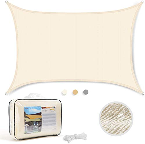 Levesolls Toldo Vela de Sombra Rectangular 3 x 2 m Protección Rayos UV Impermeable Resistente para Patio, Exteriores, Jardín, Color de Crema