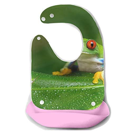 N\A Lätzchen zum Füttern Schöne tropische Regenwald Laubfrosch Abnehmbare Silikon Fütterung Schürze Maus Handtuch Baby Fütterung Dribble Drool Lätzchen Infant Baby Drool Lätzchen für Mädchen