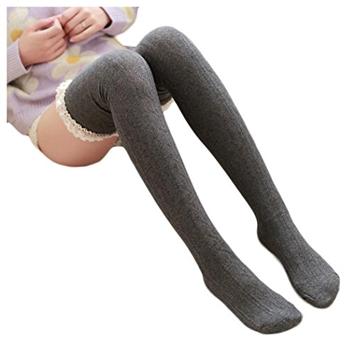 Inkach Womens Thigh High Boot Socks Over Knee High Leg Wamers Girls Warm Knitted Crochet Socks (Dark Grey)
