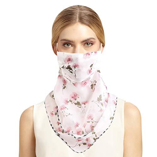 TAGVO Femmes Masque Facial avec Boucle d'oreille, Respirant et léger Protection Solaire Écharpe en Soie Balaclava Foulards Bandana Neck Guêtre pour l'extérieur