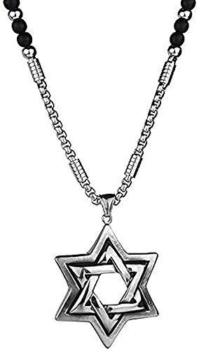 ZHIFUBA Co.,Ltd Collar de Moda Collar de Acero Inoxidable 316L Colgante de Doble Estrella Collar de Cuentas Negras Cadena de suéter Collar Llamativo para Hombres Collar de Regalo