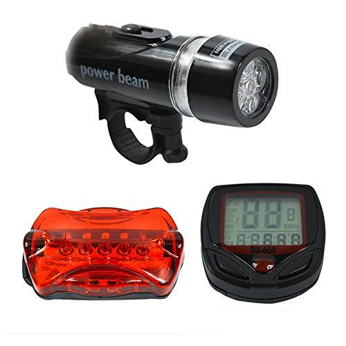 whbage LED Fahrradlicht,Fahrradbeleuchtung Bergstraße Licht Sets 5 LED Fahrrad Radfahren Licht + Fahrrad Tachometer + Kopf und Rücklicht Super Fahrrad Zubehör Set