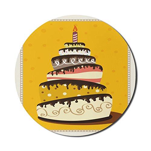 Runde Matte, Geburtstagsfeier Mauspad für Computer, Happy Birthday Theme Pastell mit kindlichem Bonbons Dessert, rundes rutschfestes Gummi Modern Base Mousepad, erdgelbes mehrfarbiges Mousepad