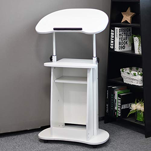 HAOXIANG Mobile Stand Up Desk, Height Adjustable 33.5'-45.3' Laptop Desk with Wheels Home Office Workstation, Rolling Table Laptop Cart for Standing Or Sitting,White