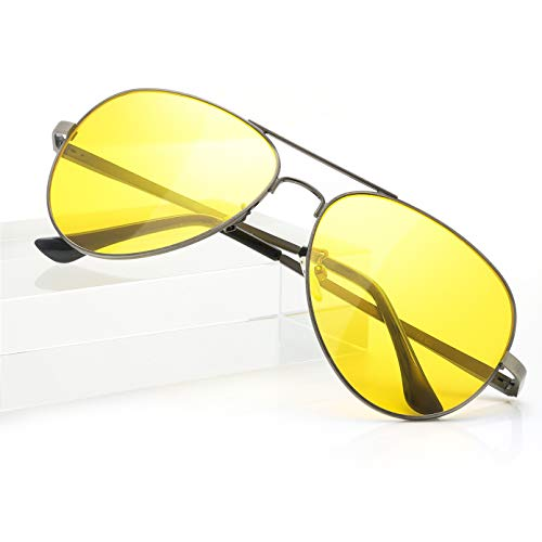 SODQW Aviator Night-Vision Driving Anti-Glare Glasses, HD Sight Polarized Yellow Night Guide Rainy Safe Glasses (Gun Frame/Yellow Night-Driving Glasses)