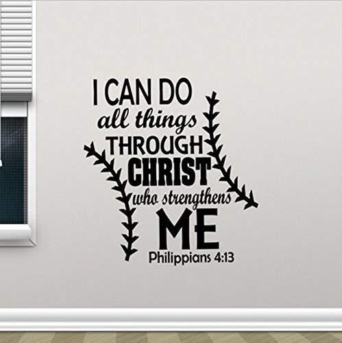 Ich kann alle Dinge durch Christus tun, der mich stärkt Wandtattoo Zitat Poster Religiöser Aufkleber Dekor 42x45cm
