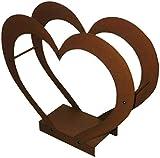 Kaminholzregal Kaminholzständer Kaminholzhalter Innen Herz aus Metall (Corten Effect)
