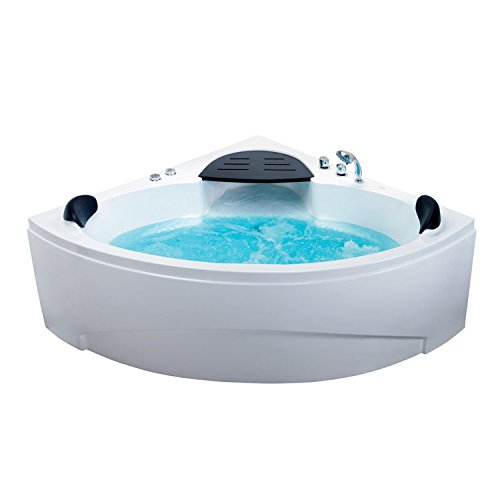 EAGO Design Whirlpool AM188RD 150x150cm - Eck-Badewanne/Eckpool mit 8 Hydrojets/Turbojets + stufenlose Luftbeimischung
