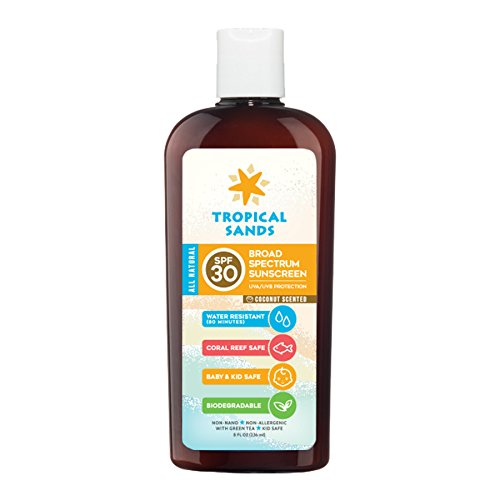Tropical Sands Natural SPF 30 Mineral Sunscreen Coconut Scent - Body Skin Care Products for Men & Women - Facial Sunblock - Kid & Baby Safe - 8 fl oz