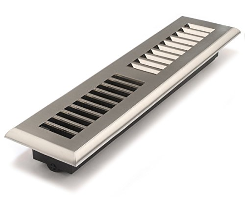 Accord APFRSNL212 Plastic Floor Register with Louvered Design, 2-Inch x 12-Inch(Duct Opening Measurements), Satin Nickel Finish