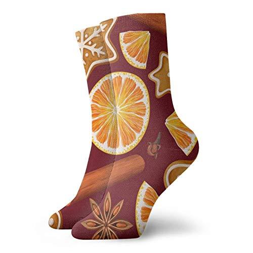 Calzini corti da uomo da 30 cm con spezie e biscotti in cotone arancione, classici calzini da atletica per la corsa e il fitness regali