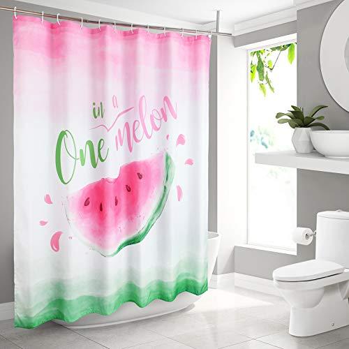 WERNNSAI Badezimmer Duschvorhang - 180 x 180 cm Wassermelone Badezimmer Gardinen Polyester Stoff Maschinenwaschbar One in Melon Gardinen mit Weißen Haken