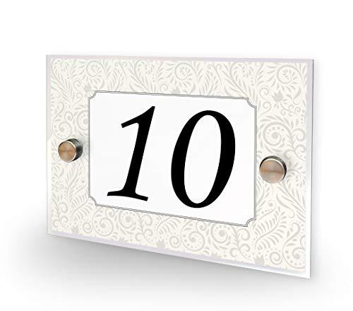 Numéro de porte de maison 10 avec motif floral vintage
