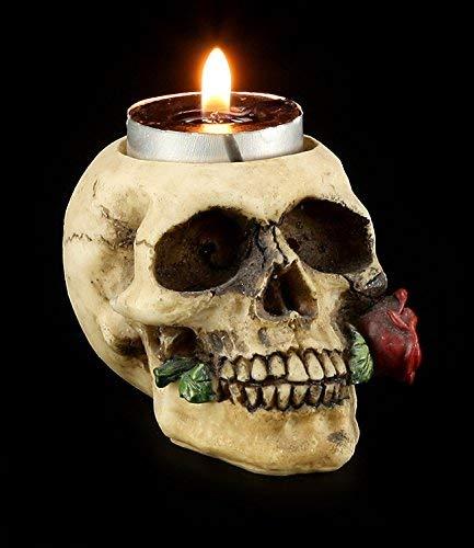 Figuren-Shop.de Teelichthalter - Totenkopf mit Rose