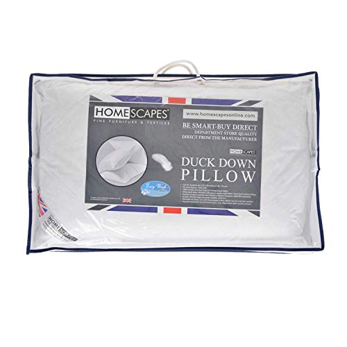 HOMESCAPES - New White Duck DOWN Pillow Sumptuously Soft Washable at Home -...