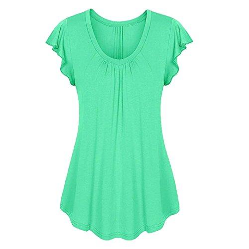 Tamaño Grande Blusa Mujer, Covermason Camiseta sin Mangas Irregular, Volante de Manga Corta para Mujer(48,Verde)