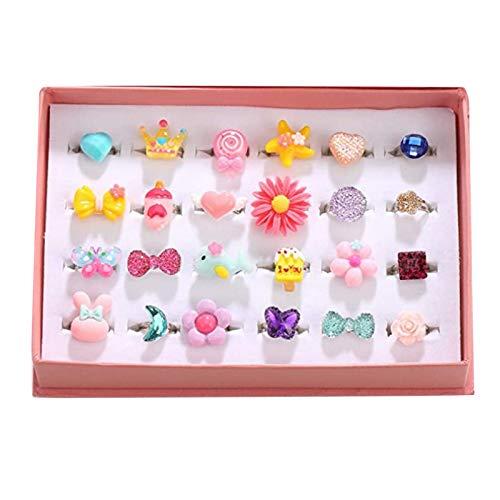 #N/a Pequeñas niñas encantadoras joyas anillos en caja niñas jugar a vestir para jugar a vestir anillos de vestir para fiesta decoración ornamentos
